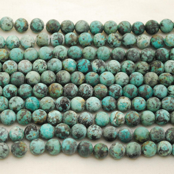 """High Quality Grade A Natural Blue African Turquoise Semi-Precious Gemstone FROSTED / MATT Round Beads - approx 8mm - 16"""" long"""
