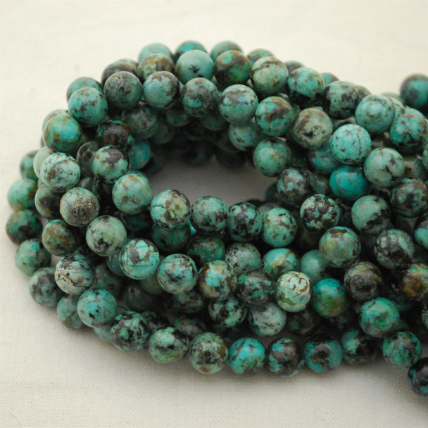 "High Quality Grade A Natural Blue African Turquoise Semi-Precious Gemstone Round Beads - approx 8mm - 15.5"" long"