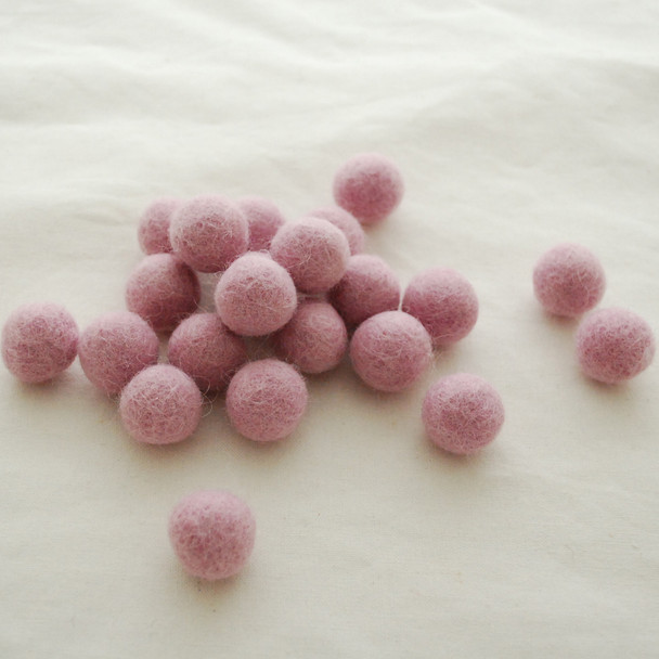 100% Wool Felt Balls - 10 Count - 2cm - Limited colour - Orchid Pink