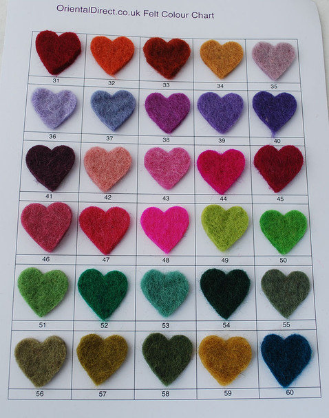 Felt Balls / Shapes Colour Sample Chart / Swatch Card