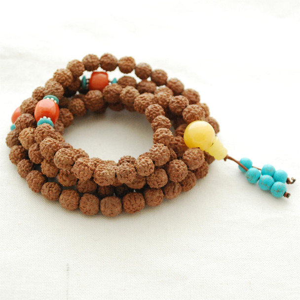Natural Nepali 5 Faced Muhki Rudraksha Seed Round Beads - 108 beads - Mala Prayer Beads - 8mm