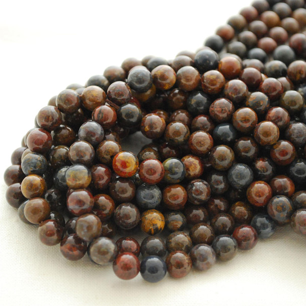 "High Quality Grade A Natural African Blue Pietersite Semi-precious Gemstone Round Beads - 4mm, 6mm, 8mm, 10mm sizes - Approx 16"" strand"