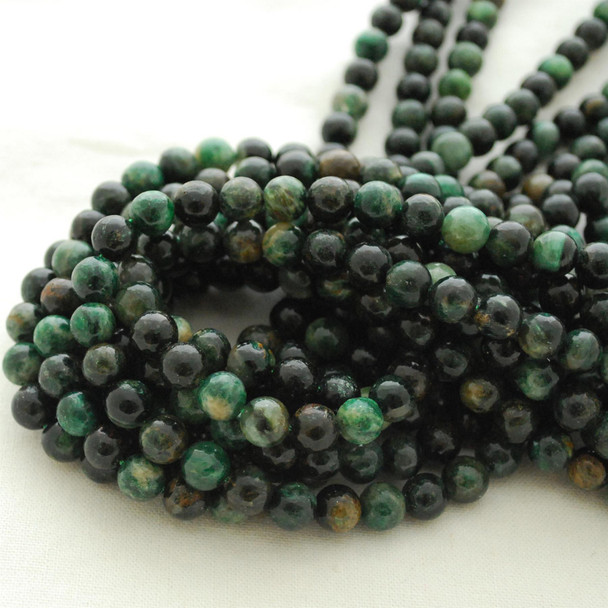 "High Quality Grade A Natural Emerald in Fuchsite Semi-precious Gemstone Round Beads - 6mm, 8mm, 10mm sizes - Approx 15.5"" strand"
