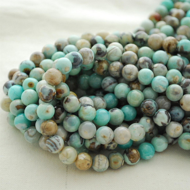 "High Quality Grade A Natural Robin's Egg Blue Terra Agate Semi-precious Gemstone Round Beads - 8mm, 10mm sizes - Approx 16"" strand"