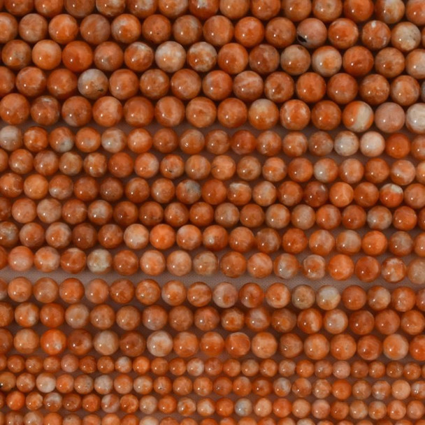 "High Quality Grade A Natural Orange Calcite Semi-Precious Gemston Round Beads - 6mm, 8mm, 10mm sizes - 15.5"" long"