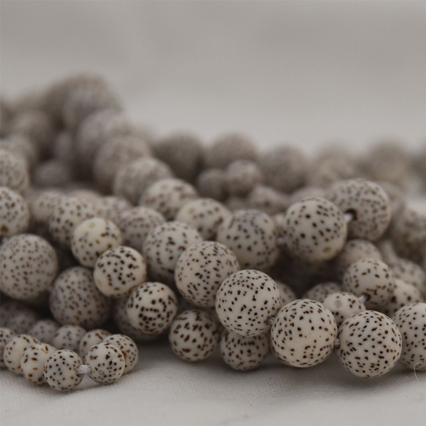 Natural Lotus Seed Bodhi Nut Beads White Brown Speckled Stars and Moon - 108 beads - Mala Prayers Beads - 5mm, 7mm, 9mm, 11mm