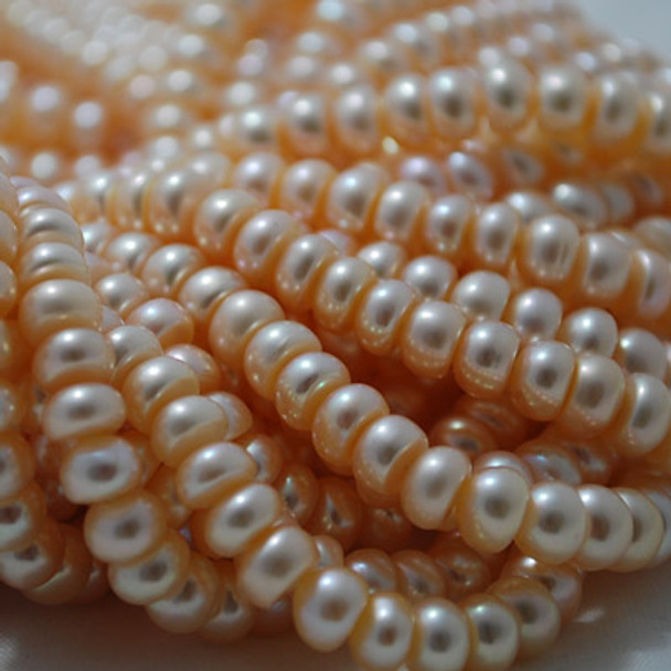 "15"" Strand Natural Freshwater Pearl Beads Rondelle Pink 6 - 7mm Grade A"