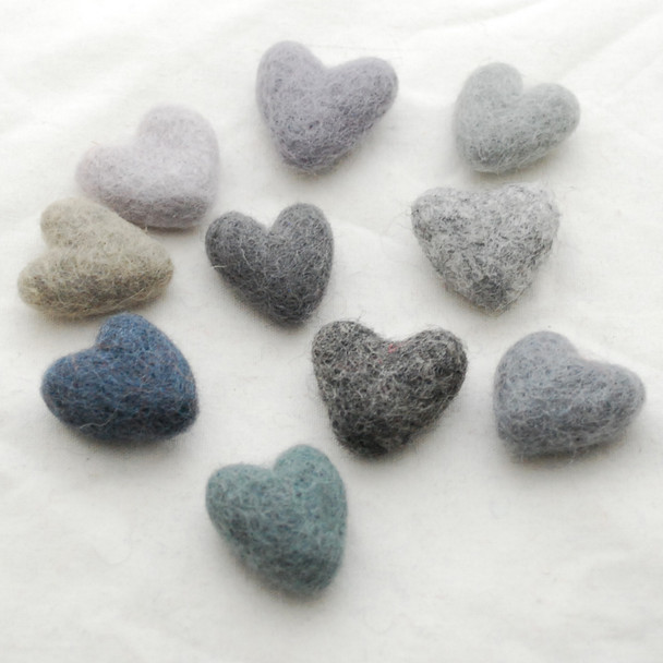 100% Wool Felt Hearts - 10 Count - approx 3cm - Grey Colours