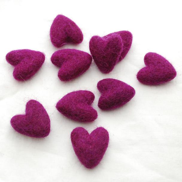 100% Wool Felt Hearts - 10 Count - approx 3cm - Plum Purple