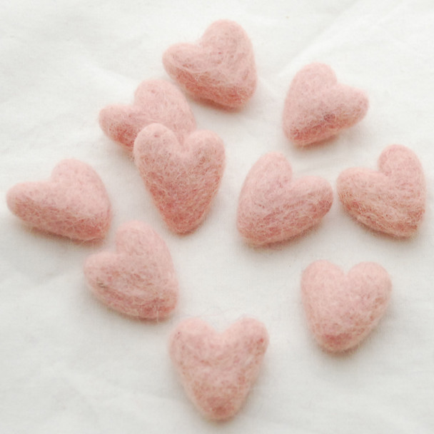 100% Wool Felt Hearts - 10 Count - approx 3cm - Peach Blossom Pink