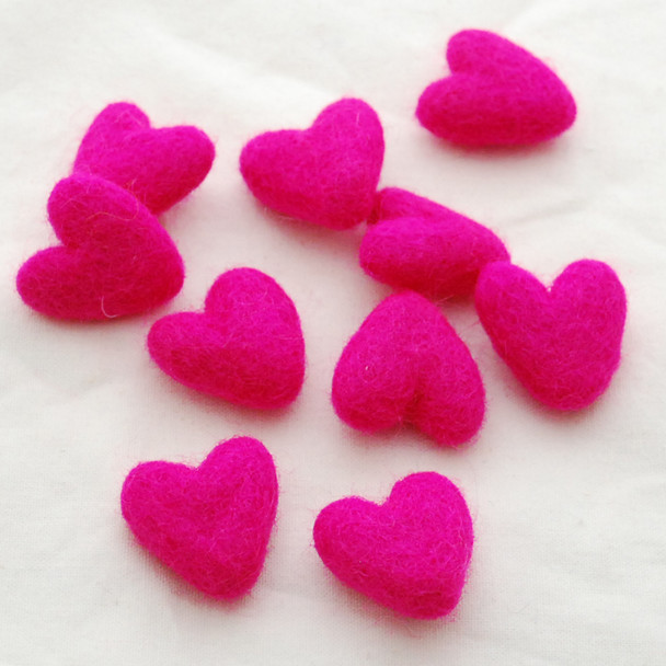 100% Wool Felt Hearts - 10 Count - approx 3cm - Fuchsia Pink