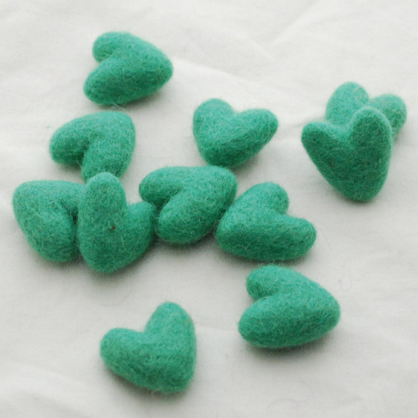 100% Wool Felt Hearts - 5 Count - approx 3cm - Jade Green