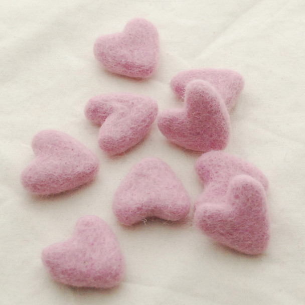 100% Wool Felt Hearts - 5 Count - approx 3cm - Limited colour - Orchid Pink