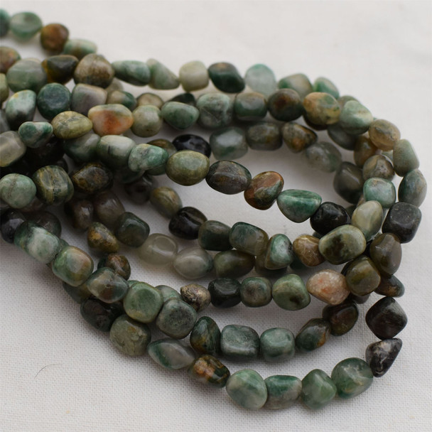 "High Quality Grade A Natural African Jade Semi-precious Gemstone Pebble Tumbledstone Nugget Beads - approx 7mm - 10mm - 15"" long strand"