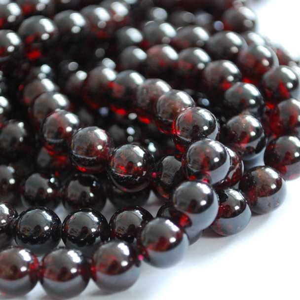 High Quality Grade A Natural Garnet Semi-Precious Gemstone Round Beads - 4mm, 6mm, 8mm, 10mm, 12mm sizes