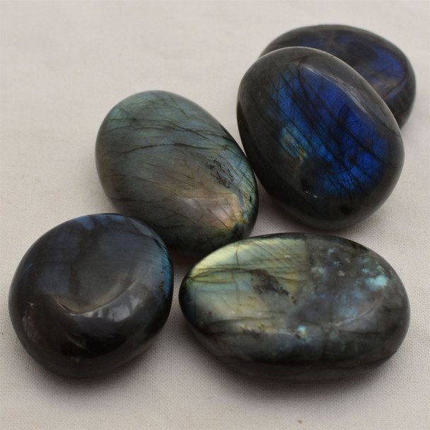 Natural Labradorite Semi-precious Gemstone Palm Stone Tumbled Stone - 1 Count - Various sizes