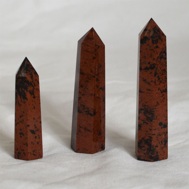 Natural Mahogany Obsidian Semi-precious Gemstone Point / Tower / Wand  - 1 Count - Various sizes