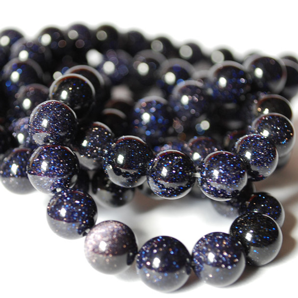 Blue Goldstone Round Beads - 4mm, 6mm, 8mm, 10mm