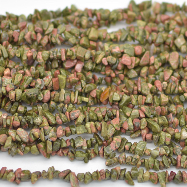 "High Quality Grade A Natural Unakite Semi-precious Gemstone Chips Nuggets Beads - 5mm - 8mm, approx 36"" Strand"