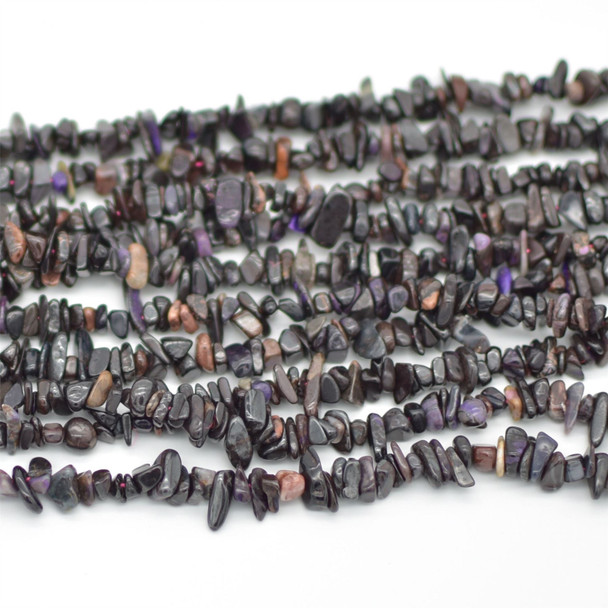 """High Quality Grade A Natural Sugilite Semi-precious Gemstone Chips Nuggets Beads - 5mm - 8mm, approx 16"""" Strand"""