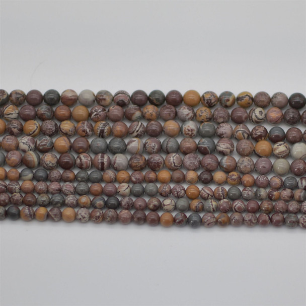 "High Quality Grade A Natural Sonora Jasper Semi-precious Gemstone Round Beads - 6mm, 8mm sizes - 15.5"" strand"