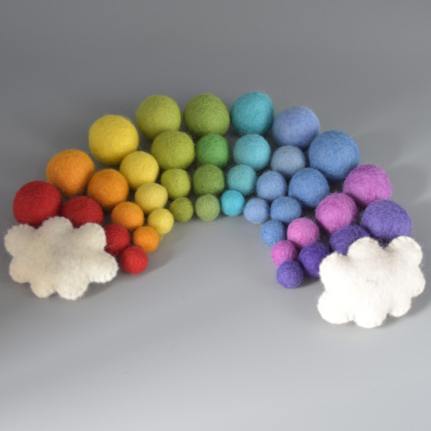 100% Wool Felt Balls and Clouds - 40 Rainbow Felt Balls in 4 sizes and 2 Ivory White Clouds