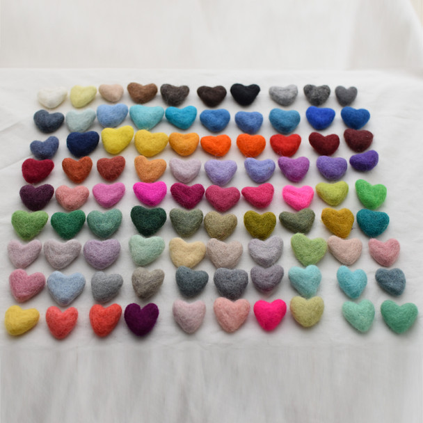 100% Wool Felt Hearts - 10 Count - Pick & Mix from 90 colours - approx 3cm