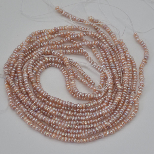 """High Quality Grade A Natural Freshwater Potato Pearl Beads - Purple - approx 2mm - 3mm - approx 15"""" long"""