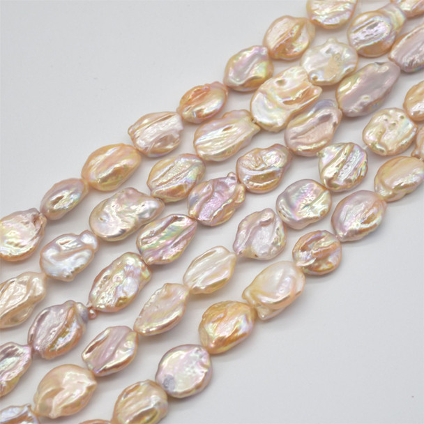 """High Quality Grade A Natural Pink Orange Freshwater Baroque Large Nugget Pearl Beads - Iridescent - approx 15mm x 20mm - 25mm - 15"""" long"""