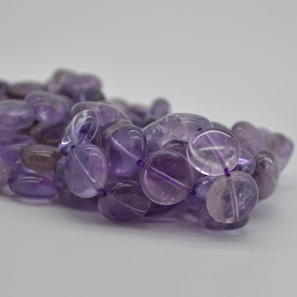 High Quality Natural Grade A Light Lavender Purple Amethyst Semi-precious Gemstone Disc Coin Beads - 10 Count - 12mm