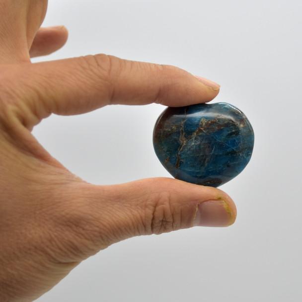 High Quality Natural Apatite Semi-precious Gemstone Heart - 1 Gemstone Heart - 25g - 35g - approx 3.5 x 3cm