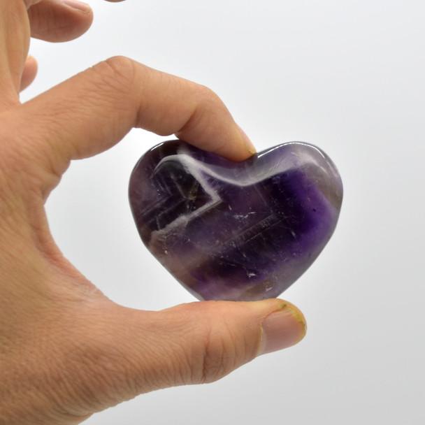 High Quality Natural Banded Amethyst Heart Semi-precious Gemstone Heart - 1 Gemstone Heart - 74 grams - #8