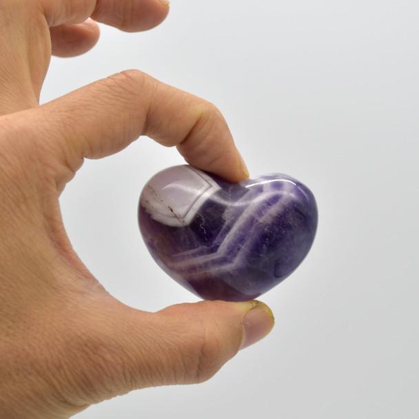 High Quality Natural Banded Amethyst Heart Semi-precious Gemstone Heart - 1 Gemstone Heart - 69 grams - #10