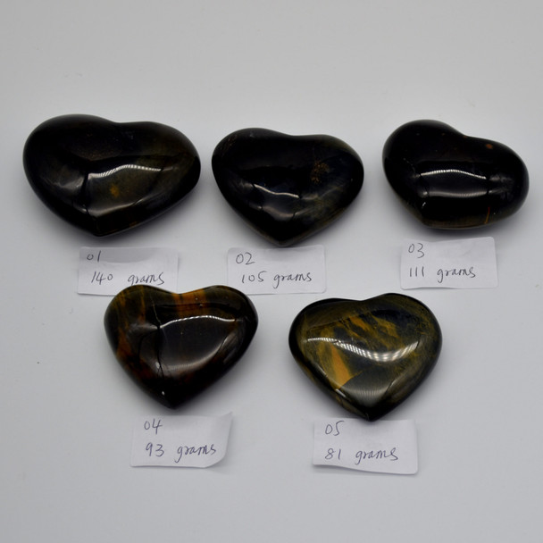 High Quality Natural Blue Tigers Eye Heart Semi-precious Gemstone Heart - 1 Gemstone Heart - 100 grams - #7