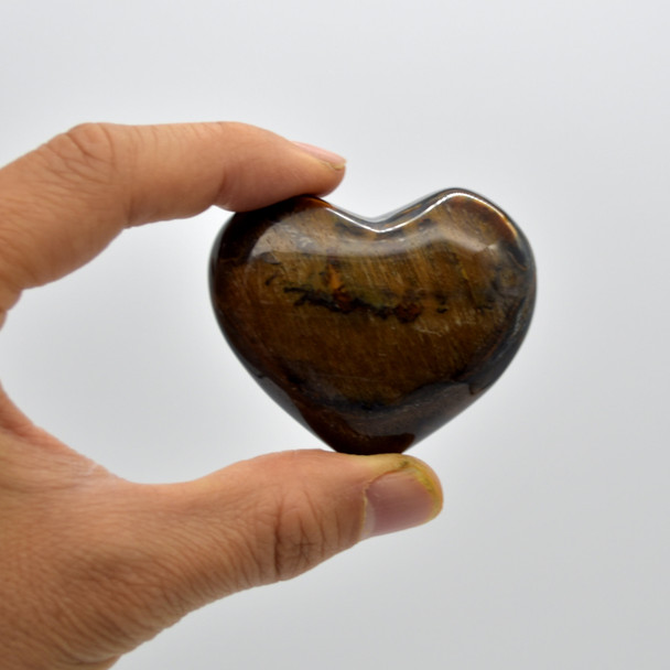 High Quality Natural Blue Tigers Eye Heart Semi-precious Gemstone Heart - 1 Gemstone Heart - 85 grams - #8