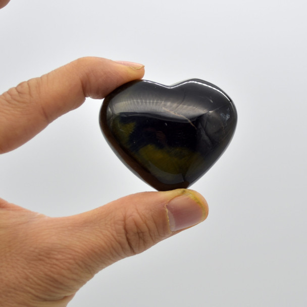 High Quality Natural Blue Tigers Eye Heart Semi-precious Gemstone Heart - 1 Gemstone Heart - 73 grams - #11