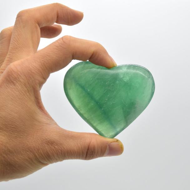 High Quality Natural Green Fluorite Heart Semi-precious Gemstone Heart - 1 Gemstone Heart - 129 grams - #6