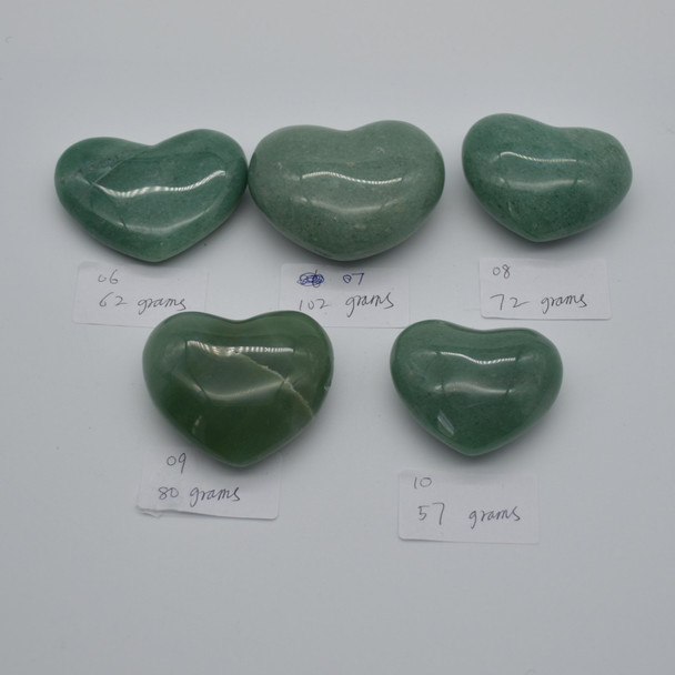 High Quality Natural Green Aventurine Heart Semi-precious Gemstone Heart - 1 Gemstone Heart - 62 grams - #6