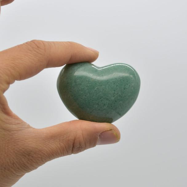High Quality Natural Green Aventurine Heart Semi-precious Gemstone Heart - 1 Gemstone Heart - 72 grams - #8