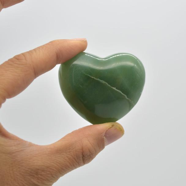 High Quality Natural Green Aventurine Heart Semi-precious Gemstone Heart - 1 Gemstone Heart - 80 grams - #9