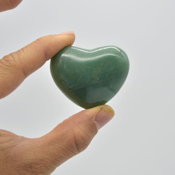 High Quality Natural Green Aventurine Heart Semi-precious Gemstone Heart - 1 Gemstone Heart - 57 grams - #10