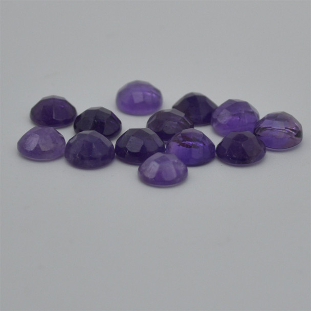 Grade AA Natural Amethyst Semi-precious Gemstone Rose Cut Round Cabochon - 4mm, 6mm, 8mm sizes