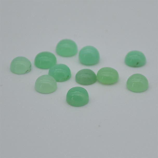 Grade AA Natural Chrysoprase Semi-precious Gemstone Round Cabochon - 3mm, 4mm, 6mm sizes