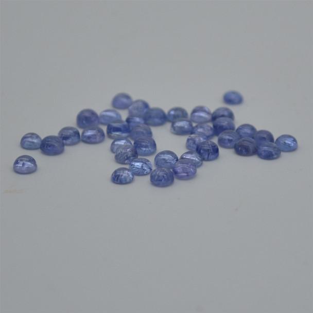 Grade AA Natural Tanzanite Semi-precious Gemstone Round Cabochon - 3mm, 4mm sizes