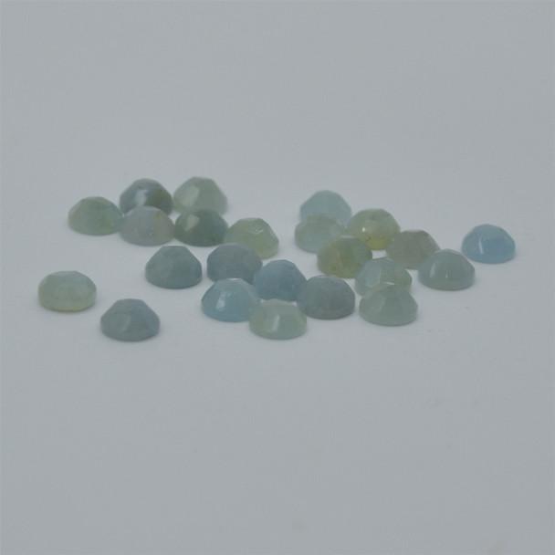 Grade AA Natural Aquamarine Semi-precious Gemstone Rose Cut Round Cabochon - 4mm, 5mm, 6mm, 8mm sizes