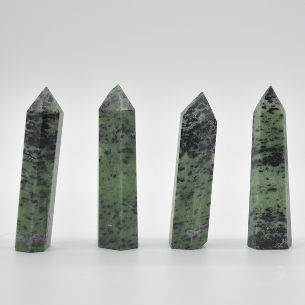 Natural Ruby Zoisite Semi-precious Gemstone Point / Tower / Wand - 1 Count - approx 8cm - 8.5cm  x 2cm - 2.5cm #2