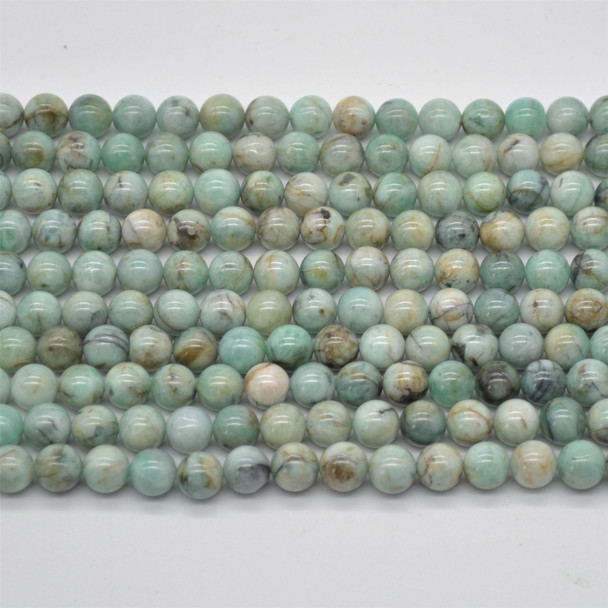 "High Quality Grade A Natural Green Emerald from Columbia Semi-precious Gemstone Round Beads - 8mm size - 15.5"" strand"