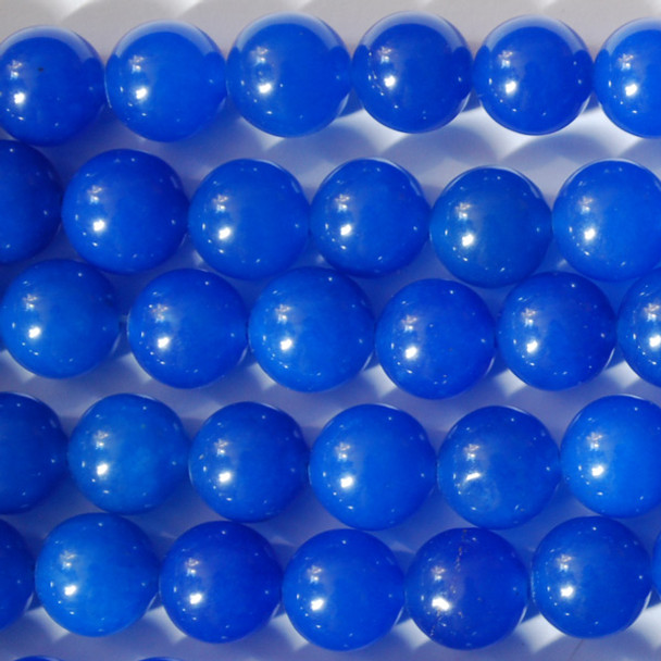High Quality Blue Jade (dyed) Semi-Precious Gemstone Round Beads - 4mm, 6mm, 8mm, 10mm