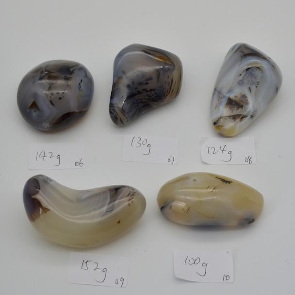 Natural Dendritic Agate Semi-precious Gemstone Palm Stone Tumbled Stone - 1 Count - 130 grams #07