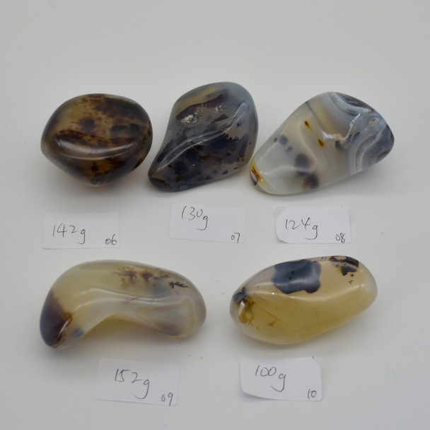 Natural Dendritic Agate Semi-precious Gemstone Palm Stone Tumbled Stone - 1 Count - 124 grams #08